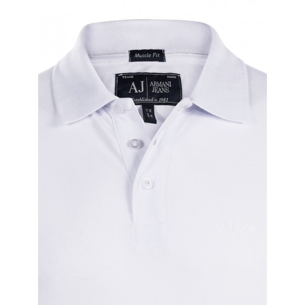 PACK 10 ARMANI JEANS Classic Polo Shirt White-Muscle fit 1
