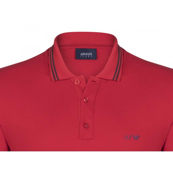 PACK 10 ARMANI JEANS Polo Shirt with contrast stripes -Red 1