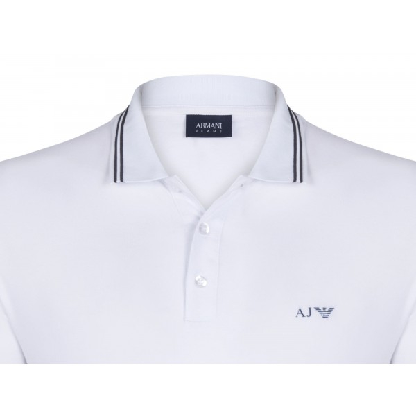 PACK 10 ARMANI JEANS Polo Shirt with contrast stripes -White 1