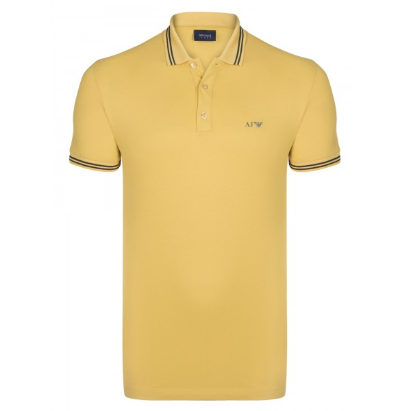 PACK 10 ARMANI JEANS Polo Shirt with contrast stripes -Yellow 0