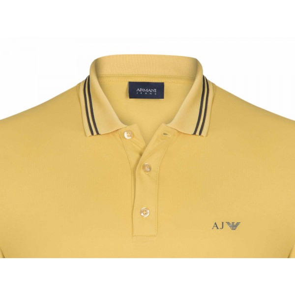 PACK 10 ARMANI JEANS Polo Shirt with contrast stripes -Yellow 1