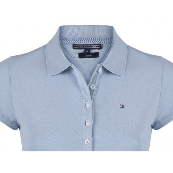 PACK 5 Ladies polo piqué shirt by Tommy Hilfiger light blue 1