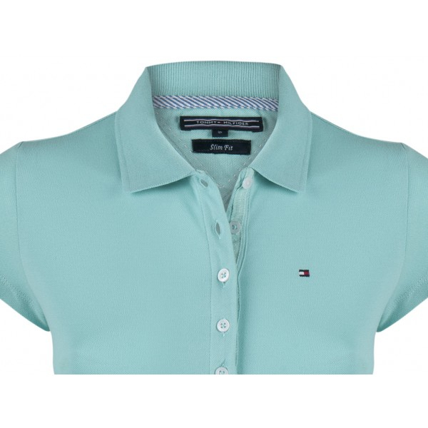 PACK 5 Ladies polo piqué shirt by Tommy Hilfiger turquoise 1