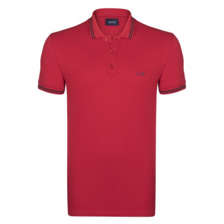 PACK 10 ARMANI JEANS Polo Shirt with contrast stripes -Red0