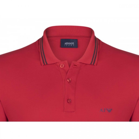 PACK 10 ARMANI JEANS Polo Shirt with contrast stripes -Red1