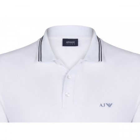 PACK 10 ARMANI JEANS Polo Shirt with contrast stripes -White1