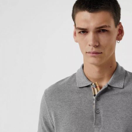 PACK 10 BURBERRY Hartford Polo Shirt in Mid Grey Melange1