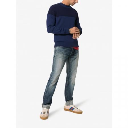 PACK 5 MONCLER tricot stripe virgin wool  Dark Blue / Blue2