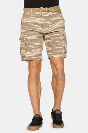 SHORT CARGO CAMUFLAGE PRINTED WITH BELT STYLE 618. Regular waist.0