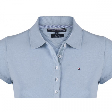 PACK 5 Ladies polo piqué shirt by Tommy Hilfiger light blue1