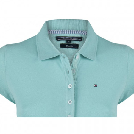 PACK 5 Ladies polo piqué shirt by Tommy Hilfiger turquoise1
