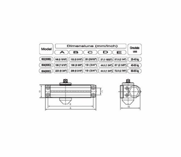 Amortizor hidraulic cu brat pentru inchidere usa 25-45 kg [1]