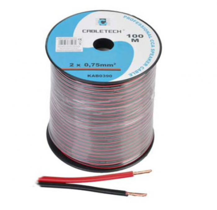 Cablu difuzor CCA 2x0.75mm rosu/negru 100m [0]