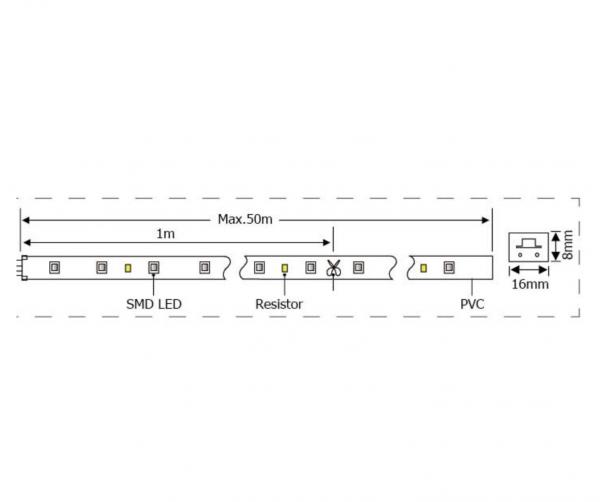 Neon Flex 92 LED-uri, IP44 ,alb cald - 1M [1]