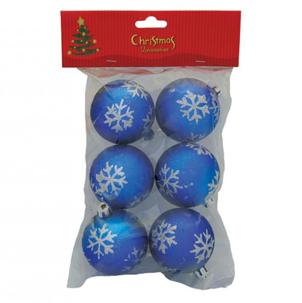 Set 6 globuri albastre cu imprimeu de fulg din sclipici [0]