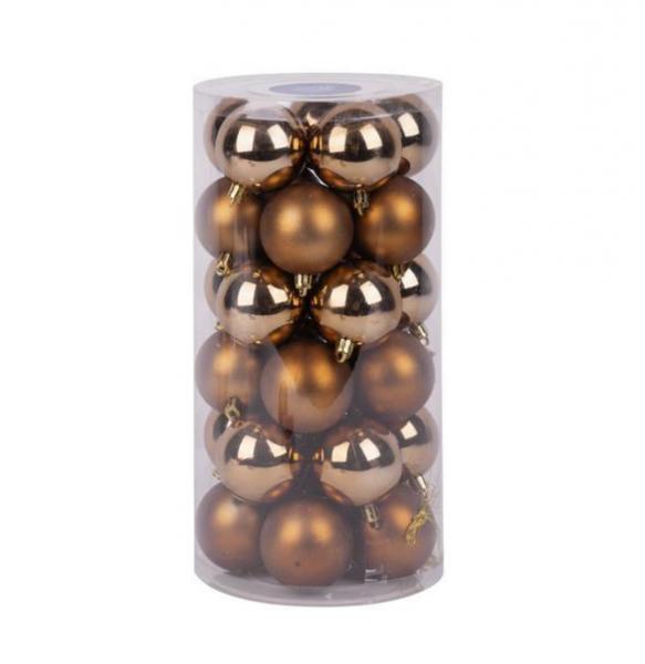 Set 30 de globuri, magic home ,culoare maro bronz, diametru 6 cm [0]