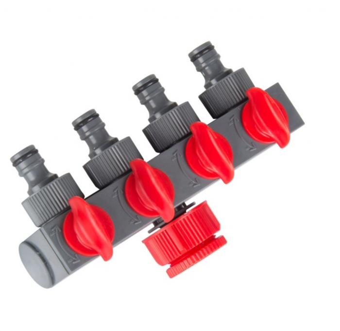 """Conector distribuitor pentru furtun de apa cu 4 robineti, 1""""-3/4"""",blister [0]"""