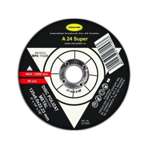 Disc polizat metal T27-A24 R-bf -125x6.0x22.23 mm [0]