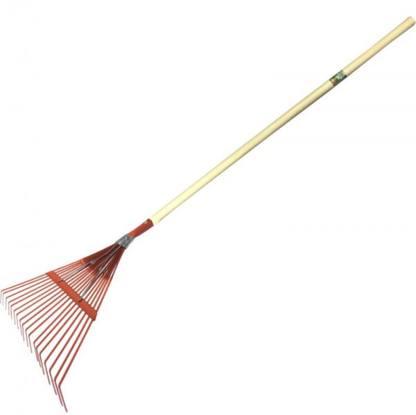 Grebla pentru iarba, 18 dinti, plata, cu rigidizor din otel si coada lemn [0]