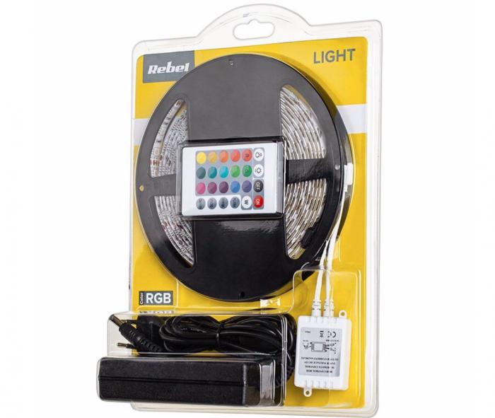 Kit banda RGB Rebel, 28 W, 300 x LED, 5 m, 3600 lm, controller si alimentator inclus [1]