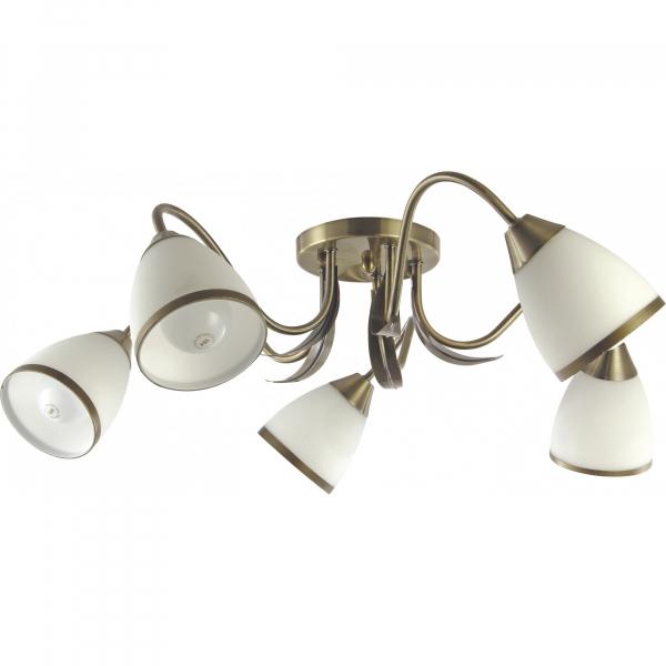 Lustra plafon E27, 5 x 60w Andreea, abajur alb + auriu [0]