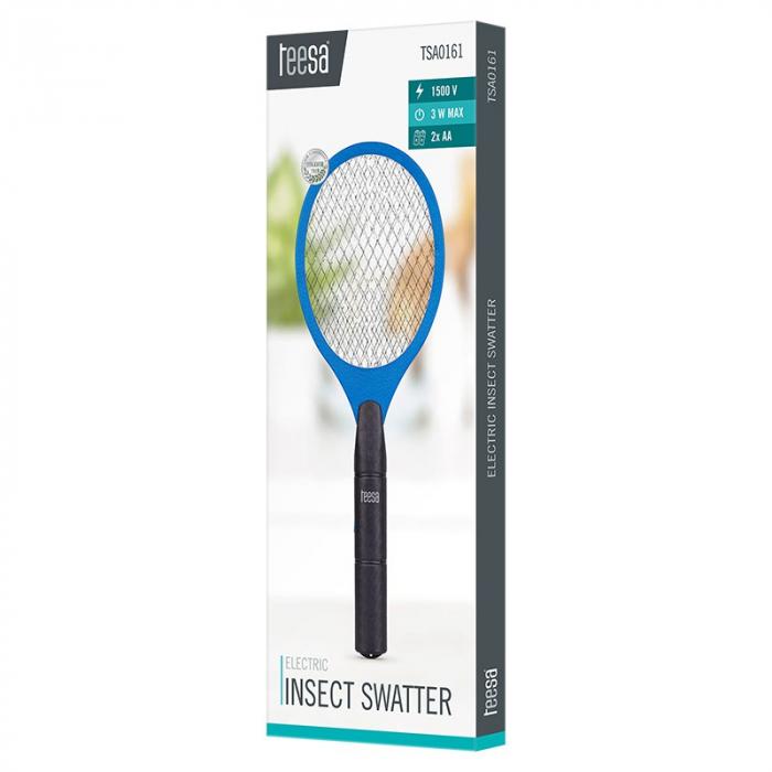 Paleta electrica cu baterii 3W, 1500V pentru muste, tantari si alte insecte, 46x17 cm, TEESA, albastru/negru [2]