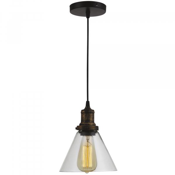 Pendul Edison , 1x60w, abajur sticla transparent , bronz antichizat, FST29478 [0]