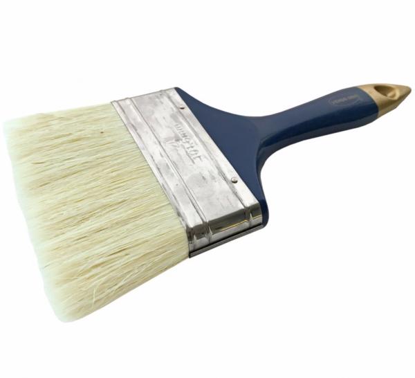 Pensula cu fir natural, maner din plastic albastru-auriu, 100 mm [0]