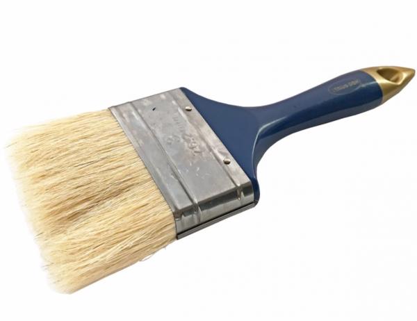 Pensula cu fir natural, maner din plastic albastru-auriu, 75 mm [0]