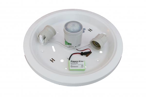 Plafoniera cu senzor de miscare 360 grade no-vo  2xe27 si kit emergenta [3]