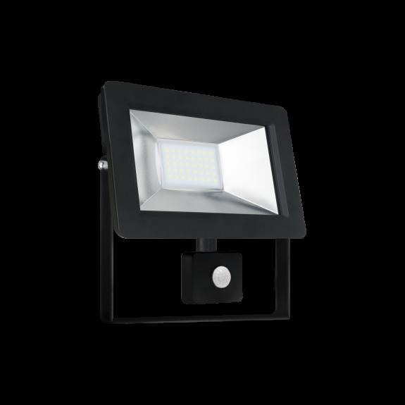 Proiector led 20 w cu senzor , 1350 lm ,lumina rece ( 6000 k ), ip 44 , clasa a++,carcasa aluminiu neagra [0]