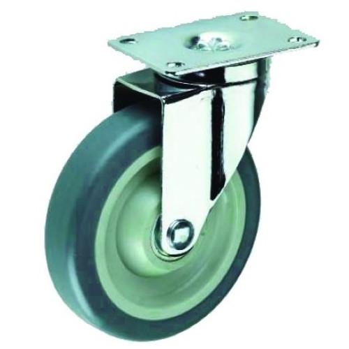 Roata furca pivotanta ,TPR gri 75 x 31 mm , greutate maxima suportata 100 kg , greutate produs 660 grame [0]