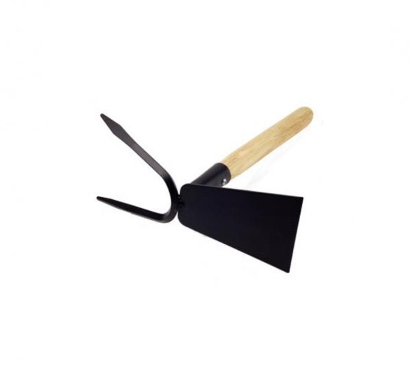 Sapaliga cu furcheta din otel vopsit negru si coada lemn de lungime 250 mm [0]