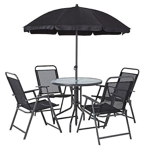 Set mobilier gradina/terasa, gri, masa, 4 scaune, umbrela, Leticia Grey [0]