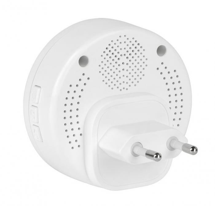 Sonerie Fara Fir / Wireless cu functie Lumina de Noapte, Distanta 150 metri, 58 Melodii, Alimentare Priza, 4 niveluri sunet, Rezistent la apa IP44, Alb [1]