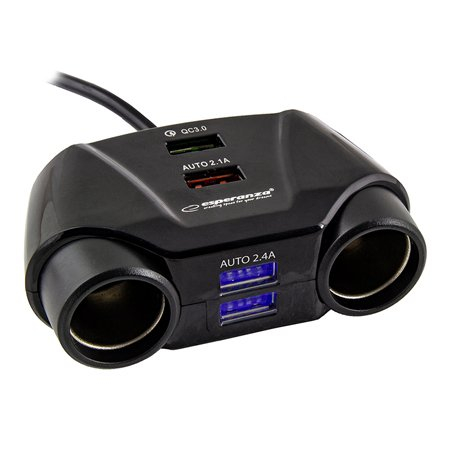 Splitter bricheta auto Esperanza, 2 prize si 4 porturi USB [0]