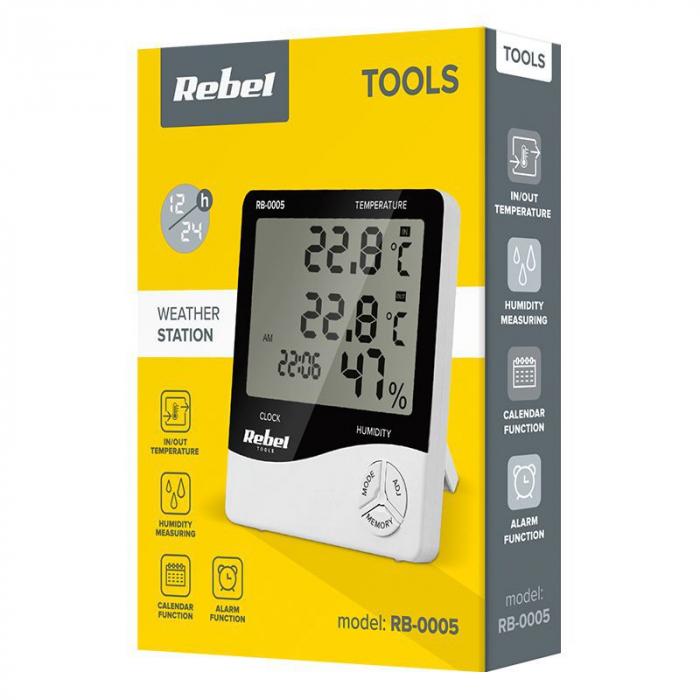 Statie meteo Rebel, masurare temperatura/umiditate, functie alarma, calendar, ceas [3]