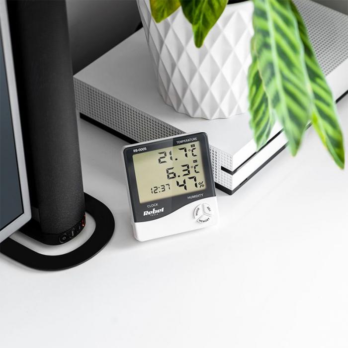 Statie meteo Rebel, masurare temperatura/umiditate, functie alarma, calendar, ceas [4]