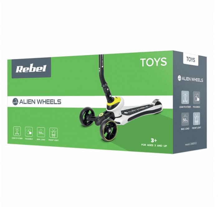 Trotineta pentru Copii cu Trei Roti Rebel Alien Wheels, Pliabila, Ghidon Reglabil, Verde/Negru [1]