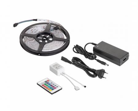 Kit banda RGB Rebel, 28 W, 300 x LED, 5 m, 3600 lm, controller si alimentator inclus [0]