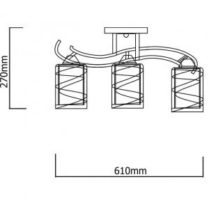 Lustra plafon E27, 3 x 60w Kalista , abajur alb [1]