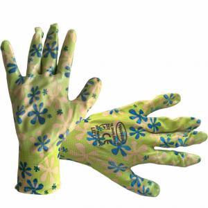 "Manusi de gradina din bumbac, polietilena,latex cu design floral, 10"" [0]"