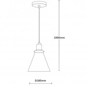 Pendul Edison , 1x60w, abajur sticla transparent , bronz antichizat, FST29478 [1]