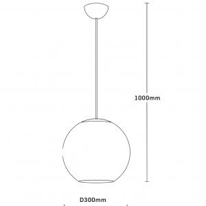 Pendul Pende, 1x60w, abajur sticla, alb , FST29489 [1]