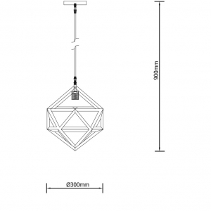 Pendul Zirko, 1 x E27 x 60W, EFST38464, negru [1]