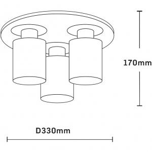 Plafoniera E27, 3x60w Andra Round, wenge+crom, E30162 [1]