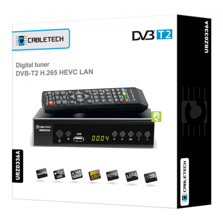 Receptor Digital Terestru TV Tuner DVB-T2 H.265 HEVC LAN USB Full HD Cabletech Receiver cu Telecomanda [1]