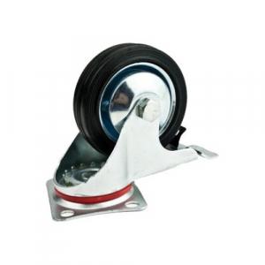 Roata furca pivotanta cu frana 200 x 46 mm , greutate maxima suportata 185 kg , greutate produs 3075 grame [0]