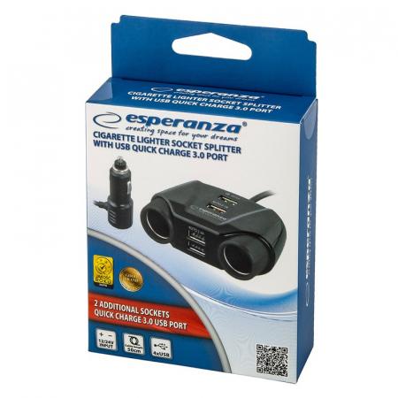 Splitter bricheta auto Esperanza, 2 prize si 4 porturi USB [3]