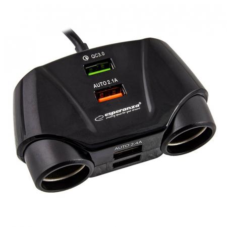 Splitter bricheta auto Esperanza, 2 prize si 4 porturi USB [1]